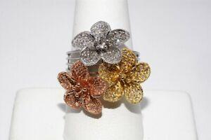 $2,300 .50CT NATURAL ROUND CUT WHITE DIAMOND FLOWER RING 14K MULTI TONE GOLD