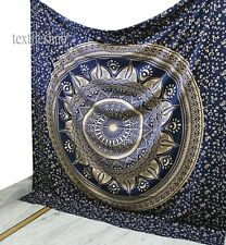 Glittering Blue Gold Ombre Mandala Cotton Indian Tapestry Bohemian Wall Hanging