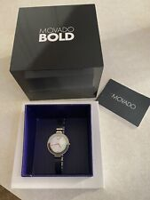 Movado Bold Stainless Steel Women's Bracelet Watch With Light Blue Face.