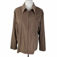 Croft & Barrow Women's Size XL Brown Faux Suede Collared Full Zip Stretch Jacket