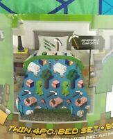 Minecraft Comforter Sheet Set 4 pieces Kids Twin Bed Set and Bonus bag