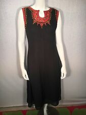 Black Ethnic Indian Kurti Chikan Embroidered W/ Metal Embellishments Sz M/ L