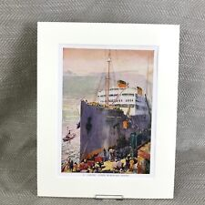 Vintage Art Deco Print Warwick Castle Line Steam Ship Ocean Liner 1930s