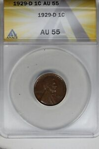 1929-D   .01   ANACS   AU 55    Lincoln Head Cent, Lincoln One Cent