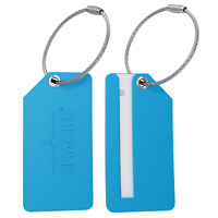 Shacke 4pack Small Luggage Tags - Fully Bendable Rubber Tags - Privacy Cover