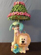 Vintage Betlar Childs Room Nursery Jungle Animals Ceramic Table Lamp Light Shade