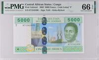 Central African States CONGO 5000 FR. 2002 Tolli Aleka GEM UNC PMG 66 EPQ