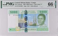 Central African States CONGO 5000 FR. 2002 Tolli Aleka GEM UNC PMG 66 EPQ