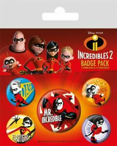 INCREDIBLES 2 Official Pin Backed Badge Pack Family