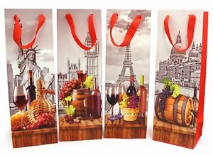 Wine Bottle Bag with Gift Tag 4 Pack / Ideal for Birthday & Wedding Parties