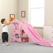 Children's Slide Basketball Frame Climbing Stair Kid Toddler Climber Swing Stair