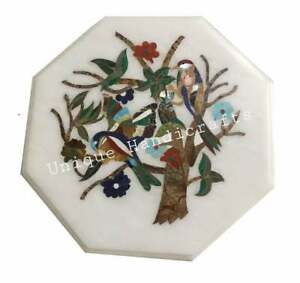 """15"""" White Marble Coffee/Side/Corner Table Tops ,Birds Inlay Art Home Decor"""