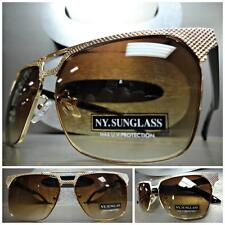 CLASSIC VINTAGE RETRO Style PARTY SUN GLASSES SHADES Unique Gold & Black Frame