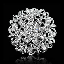 Wedding Bridal Silver Rhinestone Crystal Pearl Brooches Brooch Bouquet Pin Party