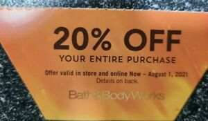 1 Bath & Body Works 20% OFF entire purchase OL READ BELOW before purchase!