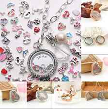 Fashion Rhinestone Floating Locket Magnetic Glass Memory Living Pendant Necklack
