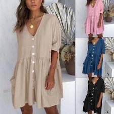 Women Summer Short Sleeve V Neck Dress Solid Button Skirt Pocket Loose Sundress