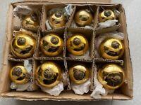 Rare Antique Kugel - Set of 12 - Gold Christmas Ornaments