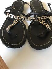 Tory Burch Gemini Leather BLACK Gold Chain Link Sandal Size 6.5