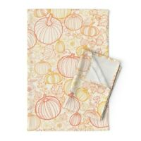Pumpkin Thanksgiving Halloween Fall Linen Cotton Tea Towels by Roostery Set of 2