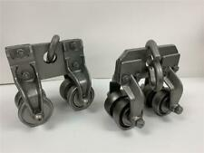 Antique Used Industrial Jervis B Webb Usa 12 Ton I Beam 4 Wheel Trolley 2pc Set