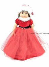 Red Sparkle Long Christmas Dress+Santa Hat 18 in Doll Clothes Fits American Girl