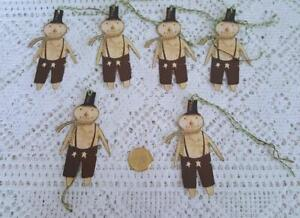 6~Primitive~Christmas~Snowman~Fussy Cut~Linen Cardstock~Gift~Hang~Tags~Ornies