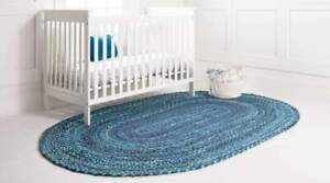 Rug 100% Natural Cotton Braided style Oval Rug Living Area Carpet Handmade Rug