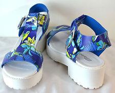 Breckelles  T Strap Floral Print Sandals Faux Leather