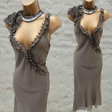 KAREN MILLEN Silk Khaki Green Ruffle & Button Embroidered Cocktail Dress 10 UK