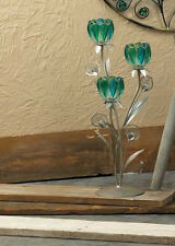"Large turquoise teal blue green peacock floral 18"" tall candelabra candle holder"