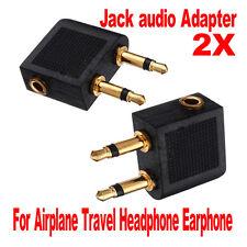 2 pcs 3.5mm Airline Airplane Earphone Headphone Headset Jack Audio Adapter New