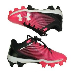 Under Armour Girl's Cleats Size 13K Black Pink & White Soccer 1297 316-002