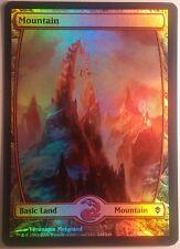 Montagne Full Art Zendikar PREMIUM / FOIL VO -  Textless Mountain Magic Mtg 244