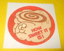 Vtg 80s TREND Scratch n Sniff MATTE Sticker HOW SWEET IT IS! Cinnamon BUN Scent
