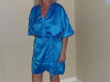 Négligé et robe de nuit en bleu electrique poly satin 10/12 Wms