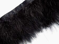 F460 PER FEET-Black Turkey Marabou Hackle Fluffy Feather Fringe Trim Craft
