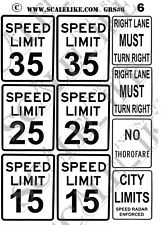 SCALELIKE INDUSTRIES G-ROADWAY SIGNS 6 (GRS-6) PRINTED ON PLASTIC FACTORY NEW