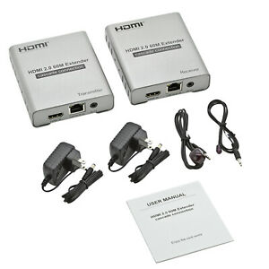4k @ 60HZ HDMI 2.0 Extender 60m Over Cat 5E/ 6 Ethernet Cable Up to 200ft