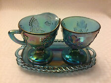 Vintage Indiana Blue Carnival Glass Harvest Grape Creamer Sugar Dishes and Tray