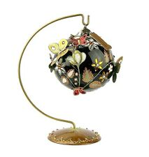 "Jay Strongwater Jet Floral Artisan 4"" Glass Ornament W Stand Swarovski New Box"