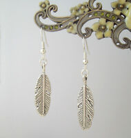 Pretty Silver Feather Charm Drop Earrings - Ethnic Boho