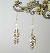 Pretty Silver Feather Charm Drop Earrings - Ethnic Boho