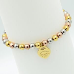 3 Tone Elasticated Bracelet Rose Yellow Gold Silver on Steel with Heart Charm