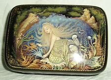 "Russian Lacquer box Palekh "" Mermaid with jellyfish "" miniature Hand Painted"