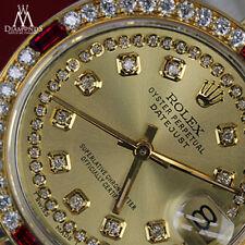 Ladies Rolex 26mm Datejust SS & 18k Watch Champagne String Dial Ruby & Diamond