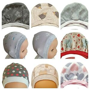GREY Newborn to 12 Months  BABY HATS BONNETS WITH LACES / TIED UP 100% COTTON