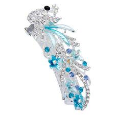 Blue Vintage Crystal Rhinestone Peacock Barrette Hairpin Hair Clip Gift