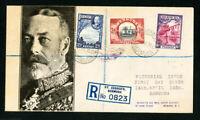 Bermuda Cover 1936 Rare Reg FDC w/ Stamps & 3x backstamps