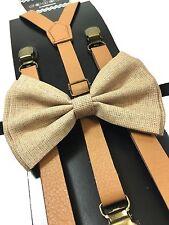Light Brown Leather Vintage Elastic Adjustable Clips-on Suspender + Bowtie Combo
